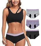 Intimate Portal Women Period Panties Incontinence Underwear Leak Proof Menstrual Brief 3-Pk Black Gray Purple XXXL Plus Size