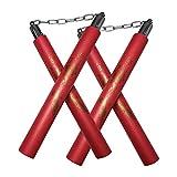 Beyck Nunchucks,Safe Foam Rubber Training Nunchucks/Nunchakus with Steel Swivel Chain 2 Pack Red