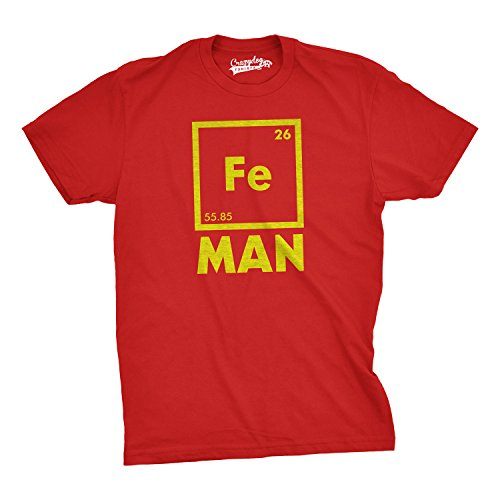 Mens Iron Man Science T Shirt Cool Novelty Funny Superhero Tee For Guys (Red) - S