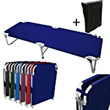 Magshion Portable Military Fold Up Camping Bed Cot with  Storage Bag, Navy
