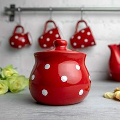 Red Polka Dot Sugar Bowl