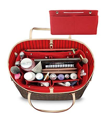 LEXSION Felt Fabric Purse Handbag Organizer Bag - MultiPocket Insert Bag Red M