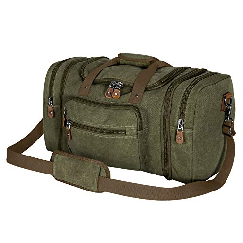 Plambag Canvas Duffle Bag for Travel, 50L Duffel Overnight Weekend Bag(Army Green)