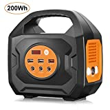 Aeiusny Portable Power Station, Solar Generators 200Wh Lithium Battery Backup Power Supply with AC DC QC3.0 USB Ports, Portable Generator for Camping, Travel, Emergency