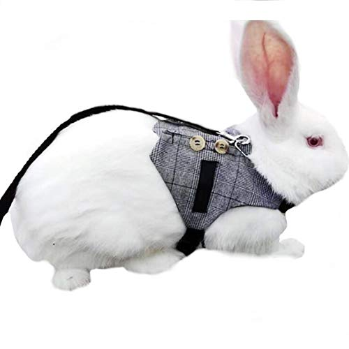 Stock Show Cute Vintage Bunny Vest Harness and Leash Set with Button Decor Small Pets Adjustable Formal Suit Style Plaid Stripe Harness for Rabbit Kitten Small Animal Walking Jogging 1