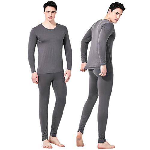 Feelvery Men's Natural Ultra-Soft Premium Tencel Silk Long Johns Thermal Underwear Set (Dark Gray, Large)