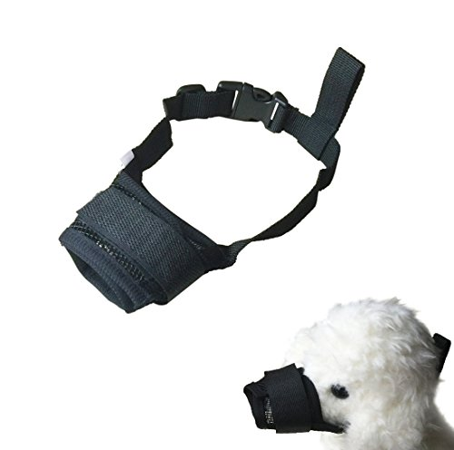 FUNPET Dog Muzzle Adjustable for Biting Chewing Licking and Barking Puppy Pet with Soft Mesh Black L