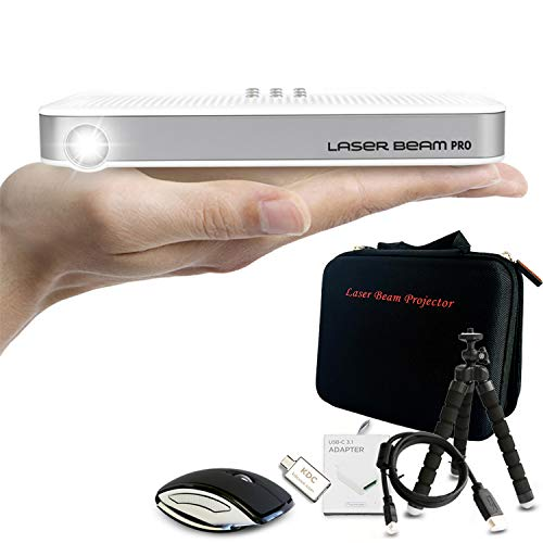 Laser Beam Pro C200 Projector + Premium Accessories - Bluetooth Folding Mouse, Flexible Tripod Stand, Micro HDMI to HDMI Cable, USB-C to HDMI Adapter, Customized Premium Bag