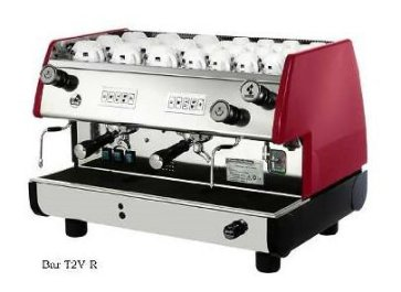 La Pavoni BAR-T 2V-B Commercial 2 Group 14L Boiler Volumetric Espresso Machine, Red Side Panels, Chrome Plated Solid Brass Groups, 2 Flexible Steam Jets, Hot Water Tap with Flexible Jet, 220-240V