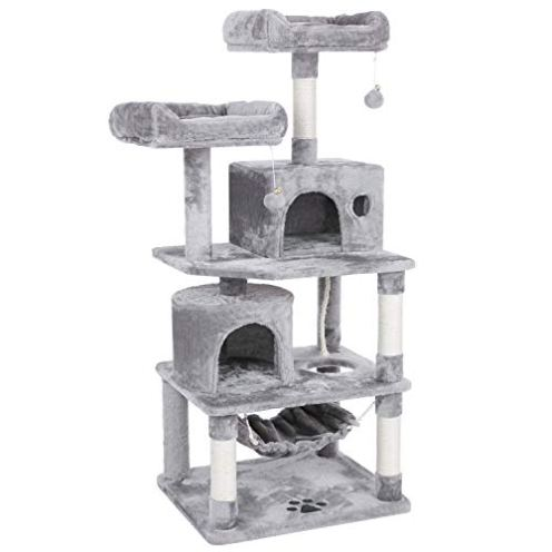 BEWISHOME-Cat-Tree-with-Sisal-Scratching-Posts-2-Condos-Plush-Perches-Jingly-Balls-and-Hammock-Cat-Condo-Tower-Furniture-Kitty-Kitten-Activity-Center-Pet-Play-House-Light-Grey-MMJ01G
