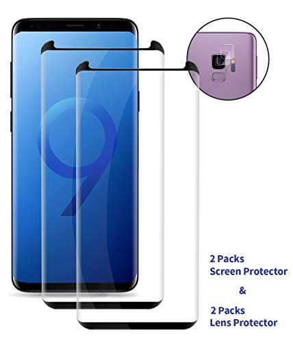 Galaxy S9 Tempered Glass Screen Protector,[2 -Pack],[9H Hardness],Tempered Glass Protector Compatible for Samsung S9 (5.8 inch) with Camera Lens Protector,[Case Friendly] (Black)