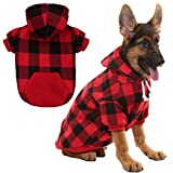 KOOLTAIL Plaid Dog Hoodie for Large Dogs Pet Clothes, Red L