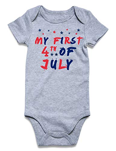 BFUSTYLE My First 4th of July Onesie Baby Boys Girls Unisex Pregnancy Reveal Bodysuit Cotton Summer Red Blue Star One-Piece Jumpsuit Infant Father's Day Romper 3-6 Months