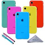 iPhone XR Case, Wisdompro Bundle of 5 Pack [Extra Thin][Slim] Jelly Soft TPU Gel Protective Case Cover for Apple iPhone XR (Blue, Aqua Blue, Hot Pink, Yellow, Red)- Transparent Color