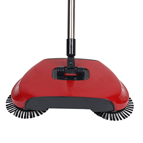 360 Degree Rotating Household Automatic Hand Push Sweeper Broom, Multi-Functional Profession Vacuum Cleaner Sweeping Robot without Electricity, 3 in 1 Dustpan and Trash Bin Floor Cleaning System (red)