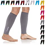 NEWZILL Compression Calf Sleeves (20-30mmHg) for Men & Women - Perfect Option to Our Compression Socks - for Running, Shin Splint, Medical, Travel, Nursing, Cycling (S/M, Solid Grey)