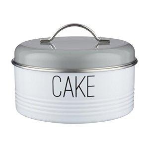 Typhoon Vintage Mayfair Round Cake Storage Tin, 22.5cm Diameter, Metal, Grey, 3.8L 41hDsAEyJ5L