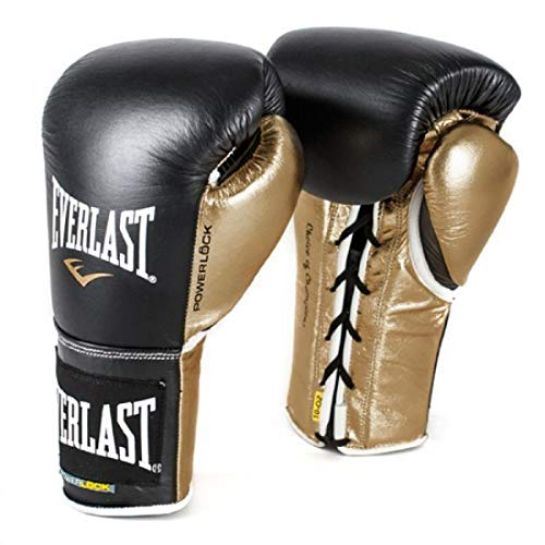 Everlast P00000584 Powerlock Training Gloves (Laced) Black/Gold 12oz