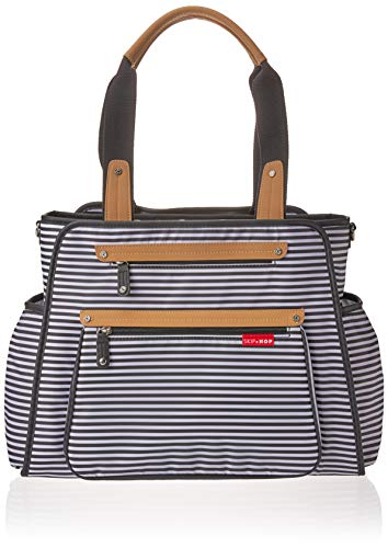 Skip Hop Diaper Bag Tote with Matching Changing Pad, Grand Central, Black & White Stripe