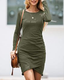 Long Sleeve Wrap Front Solid Color Casual Basic Fitted Short Dress