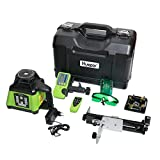 Huepar Electronic Self-Leveling Green Rotary Laser Level Kit -Horizontal&Vertical/Up & Down Plumb Dots -Dual Slope Rotating Laser Level Line with Green Beam, Remote Control, Receiver Included RL200HVG