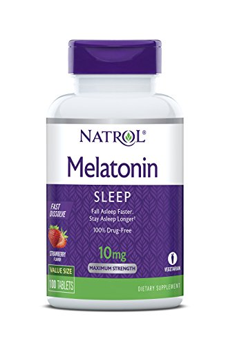 Natrol Melatonin Fast Dissolve Tablets, Strawberry flavor, 10mg, 100...