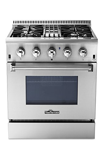 Thorkitchen HRD3088U 30' Freestanding Professional Style Dual Fuel Range with 4.2 cu. ft. Oven, 4 Burners, Convection Fan, Stainless Steel