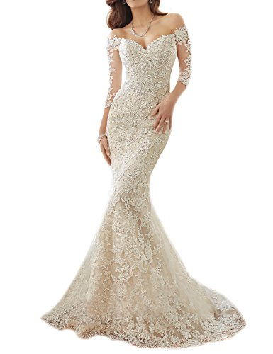 """41hOEj SNaL 2016 Trumpet/Fishtail Lace Wedding Dress with Sleeves Off the Shoulder Bridal Gown with Long Train Size: To make your dress fittest and perfect for you, we suggest you choose customize the dress and send your proper measurements (such as Bust, Waist, Hips, your Height, Shoes Height) via E-mail ASAP, then we can arrange manufacture and delivery earlier. Quality: As a high-end handmake designer-inspired manufacture, we provide the best quality and service for our customers. For more perfect and affordable merchandise, please click the """"OYISHA"""" which is above the title."""