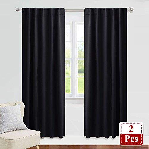 PONY DANCE Blackout Curtain Blinds - 42-inch Wide by 84-inch Long, Black Thermal Insulated Light Block Back Tab/Rod Pocket Curtains Window Cover Shades for Bedroom Living Room, 2 Panels