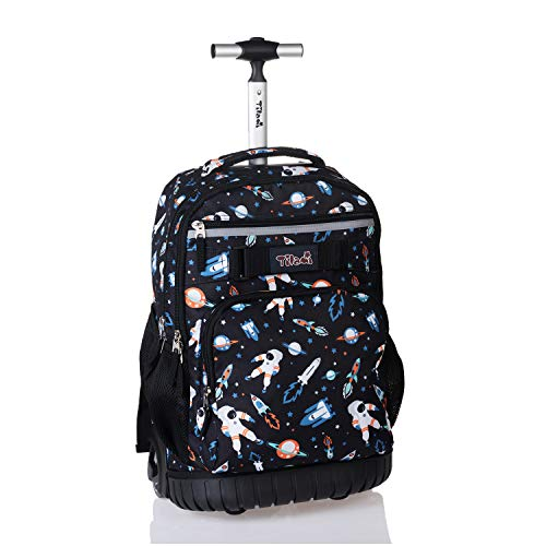 Tilami Rolling Backpack 18 inch Wheeled Laptop Backpack Waterproof School College Student Travel Trip Boys and Girls, Astronaut