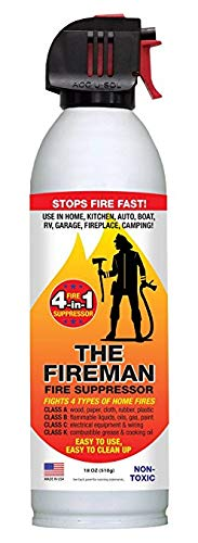 The Fireman - Multi Purpose Fire Extinguishing Suppressant Spray - Fights All 4 Common Fires: Wood, Gasoline, Electrical Equipment and Grease/Fat Fires (Class A,B,C & K) - 18 oz. (8 Pack)