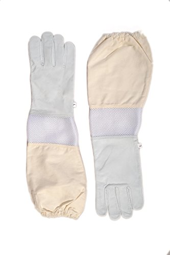 Forest Beekeeping Premium Goatskin Leather Beekeeper's Glove with white vent Long Canvas Sleeve with elastic cuff (M)