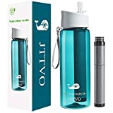 JTTVO Filtered Water Bottle with 2 Stage Replacement Filter Straw Water Filter Bottle for Travel,Hiking,Camping,Backpacking- BPA Free