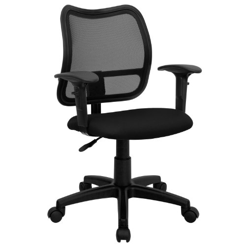 Mid-Back Mesh Task Chair with Fabric Seat Black/Arms