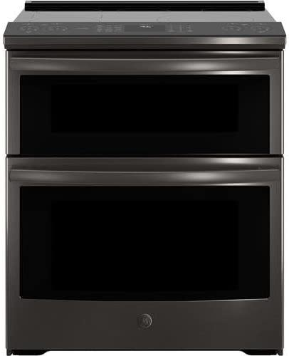 """GE Profile4 Piece Kitchen Package with PSE25KBLTS 36"""" SBS fridge, PS960BLTS 30"""" Slide-in Electric Range, UVW9301BLTS 30"""" Hood and PDT845SBLTS 24"""" Built In Dishwasher in Black Stainless Steel"""