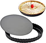 2 Pack Attmu 9 Inches Non-Stick Removable Loose Bottom Quiche Tart Pan, Tart Pie Pan, Round Tart Quiche Pan with Removable Base