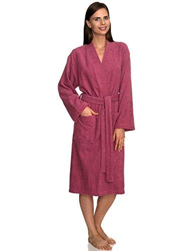 TowelSelections Women's Robe Turkish Cotton Terry Kimono Bathrobe Medium/Large Rose Wine
