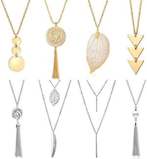 YWLI 8 PCS Long Necklaces for Women – Fashion Pendant Necklace Jewelry, Multi Layer Necklace, Tassel Necklace, Leaf Necklace, Y Necklace, Gifts for Women