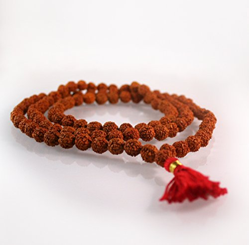 108 Buddhist Mala Beads - Meditation Prayer Necklace / Bracelet (Rudraksha , 8 MM)