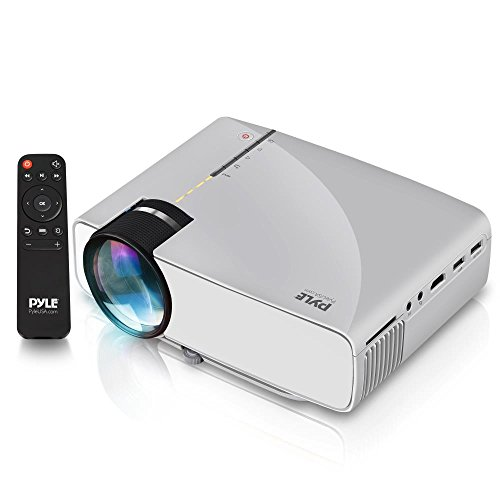 Pyle Portable Multimedia Home Theater Projector - Compact HD 1080p High Lumen LED USB HDMI Adjustable 50' to 130' Inch Screen in your Mac or PC - Built in Stereo Speaker with Remote Control