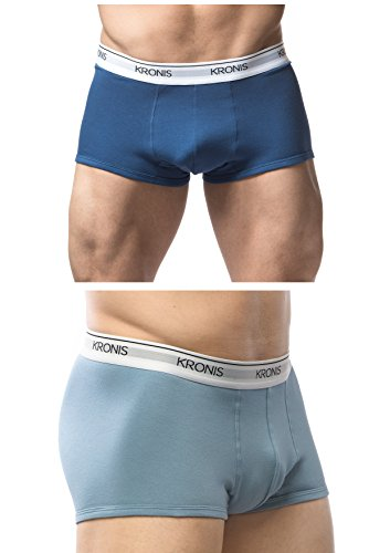Italian Designed Trunks 2 Pack KRONIS Mens Underwear Premium 180gsm Cotton, Medium, Blue + Light Blue