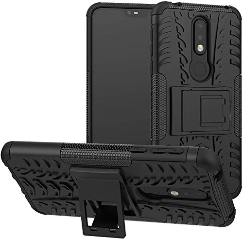 Cassby Shockproof Kickstand Back Case Cover for Nokia 5.1 Plus - Black 167