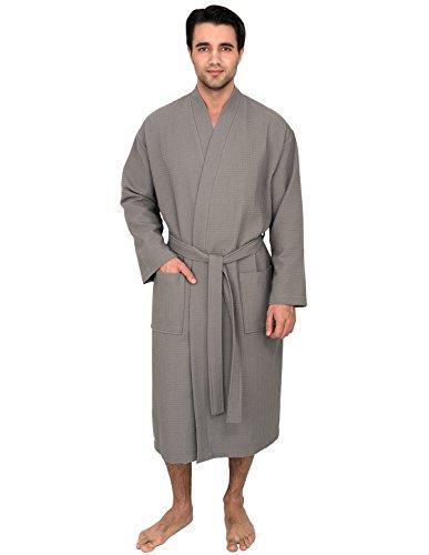 TowelSelections Men's Robe, Kimono Waffle Spa Bathrobe Large/X-Large Wild Dove