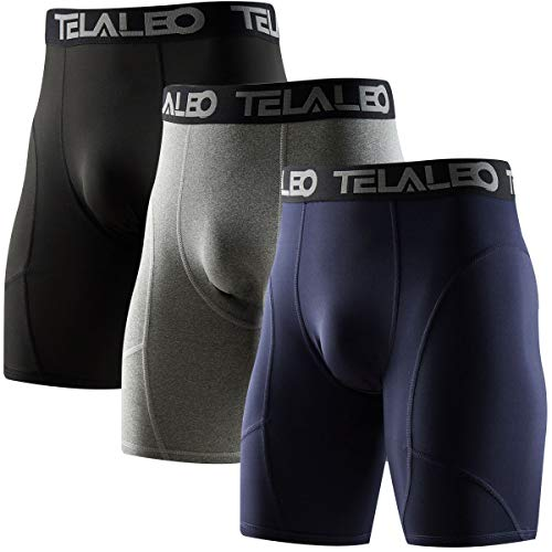 TELALEO Men's Long Compression Shorts Cool Dry Sports Tights Black/Grey/Navy XL