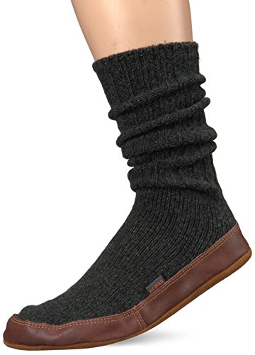 Acorn Unisex Slipper Sock, Crimson Ragg Wool, Large(11-12 Women's/9-10 Men's) B US