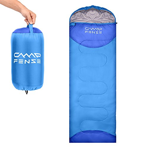 CampFENSE Sleeping Bag Lightweight Portable Compact Backpacking Outdoor Hiking Camping Equipment Tools Gear for Kids Youth Adult Men Women with Compression Storage Bag (Light Blue)