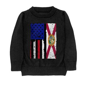 HJKNF58Q Florida American USA Flag Pride Sweater Youth Kids Funny Crew Neck Pullover Sweatshirt