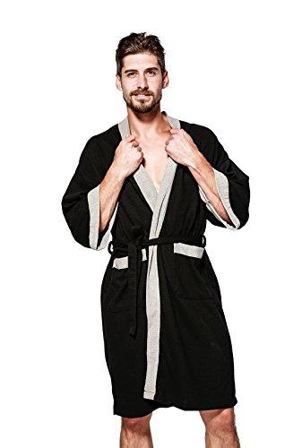 JEAREY Men's Kimono Robe Cotton Waffle Spa Bathrobe Lightweight Soft Knee Length Sleepwear with Pockets (S, Grey-White)