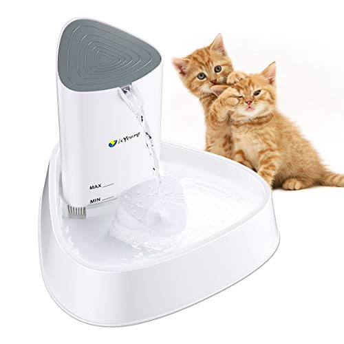 isYoung Cat Fountain LED Pet Water Fountain Ultra Quiet Automatic Pet Water Dispenser with Adjustable Water Flow and Activated Carbon Filter for Dogs, Cats, Birds and Small Animals