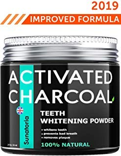 Activated Charcoal Teeth Whitening Powder - Product of UK by Sunatoria - Natural Coconut Teeth Whitener - Effective Remover Tooth Stains for a Natural Healthier Whiter Smile - Improved 2018 Formula